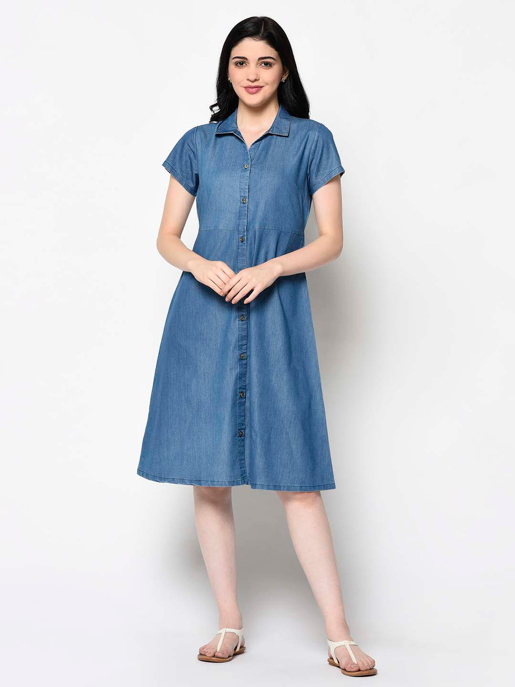 Azure Blue Collared Dress