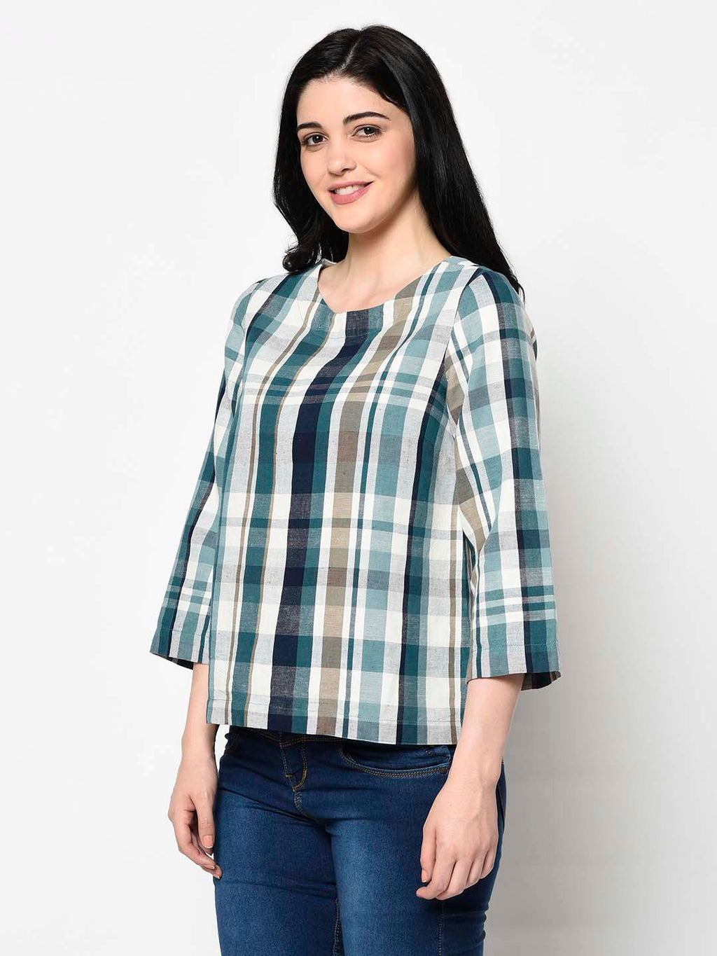 White And Blue Asymmetrical Checked Top