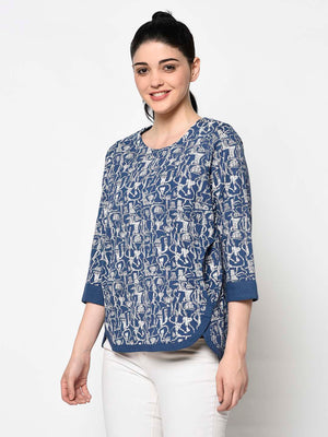 Blue Pattern Top With Broad Border