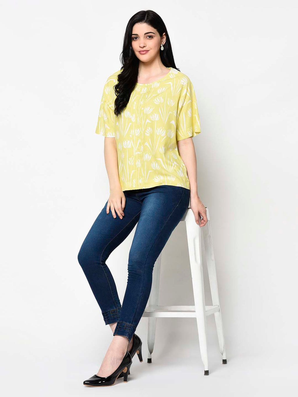 Yellow Floral Print Top - Avsoy