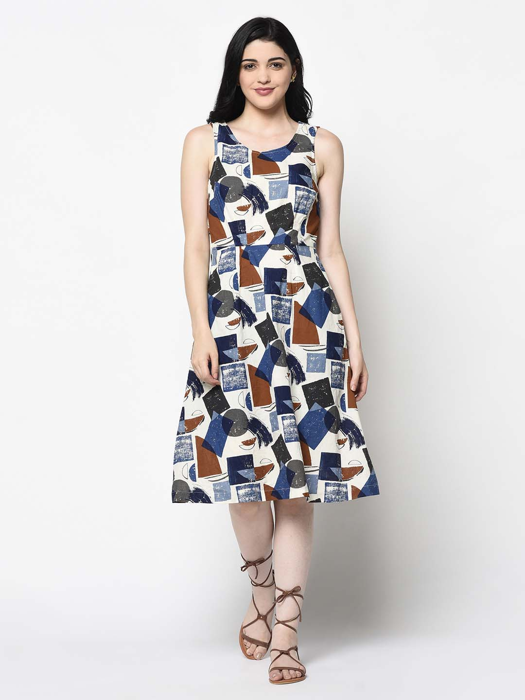 Mosiac Print A-Line Dress
