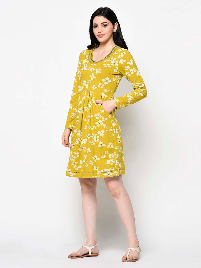 Flower Print Yellow Pleated Dress