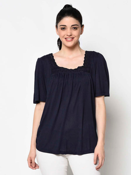 Navy Blue Boat Neck Top