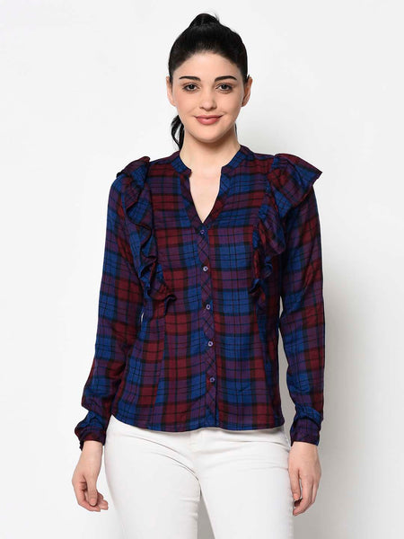 Navy Blue and Red Check Ruffle Shirt