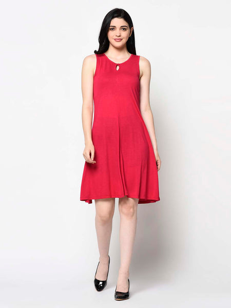 Red A-Line Dress With Front Key Hole