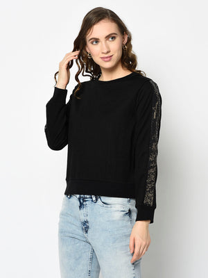 Black Sequenced Sleeve Sweatshirt