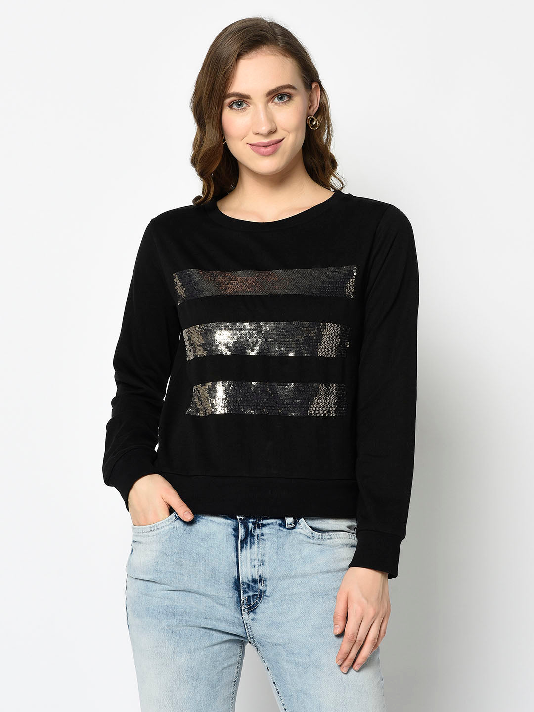 Black Sweatshirt with Dark Silver Sequences