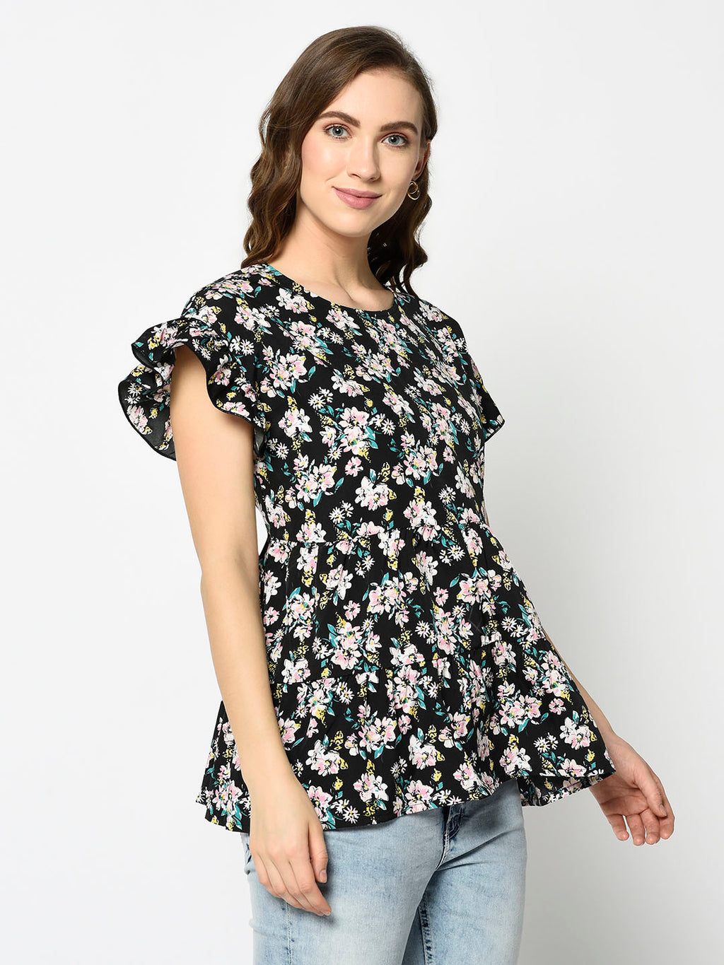 Floral Peplum Top with Short Flutter Sleeves