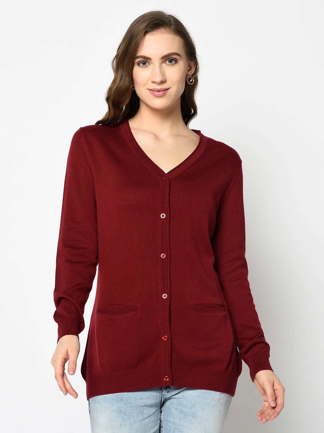 Maroon Cardigan with Pockets - Avsoy