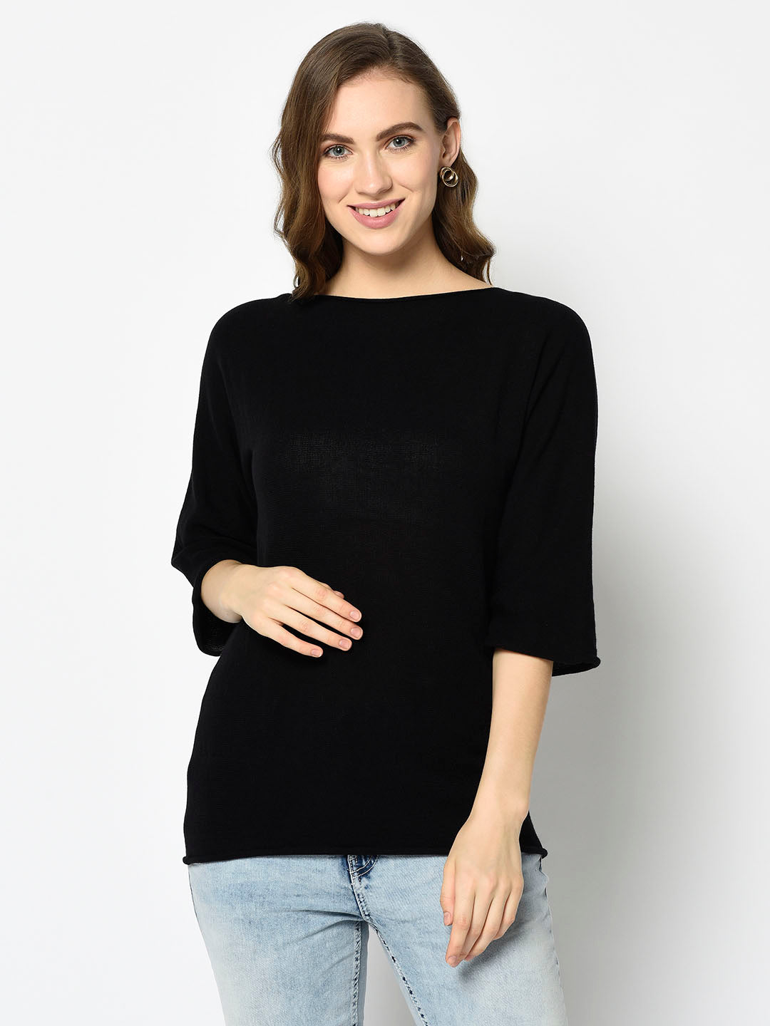 Black Dolman Sleeve Sweater with Bateau Neckline - Avsoy