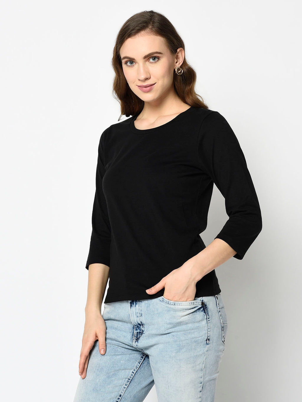 Black Roundneck with Three Quarter Sleeves