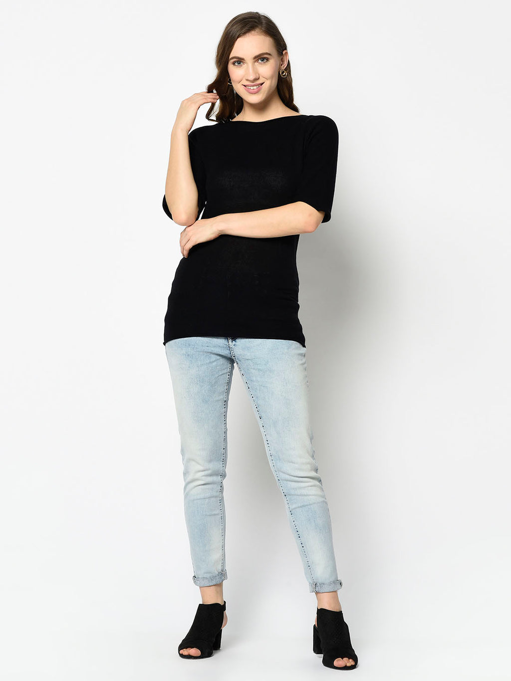 Black Bateau Sweater with Bell Sleeves