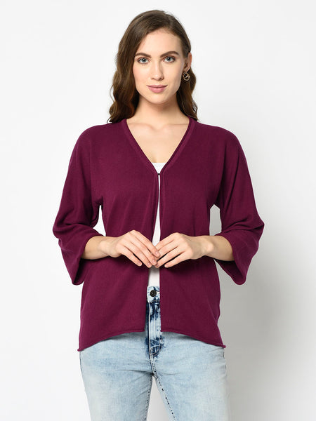 Maroon V-neck Front Open Cardigan