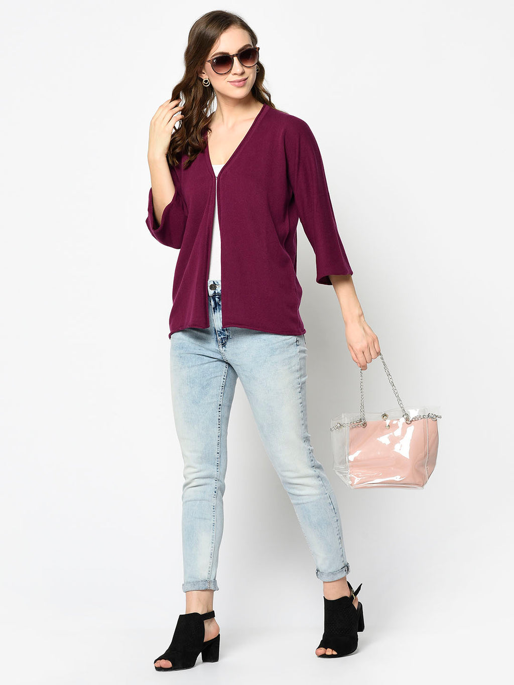 Maroon V-neck Front Open Cardigan - Avsoy