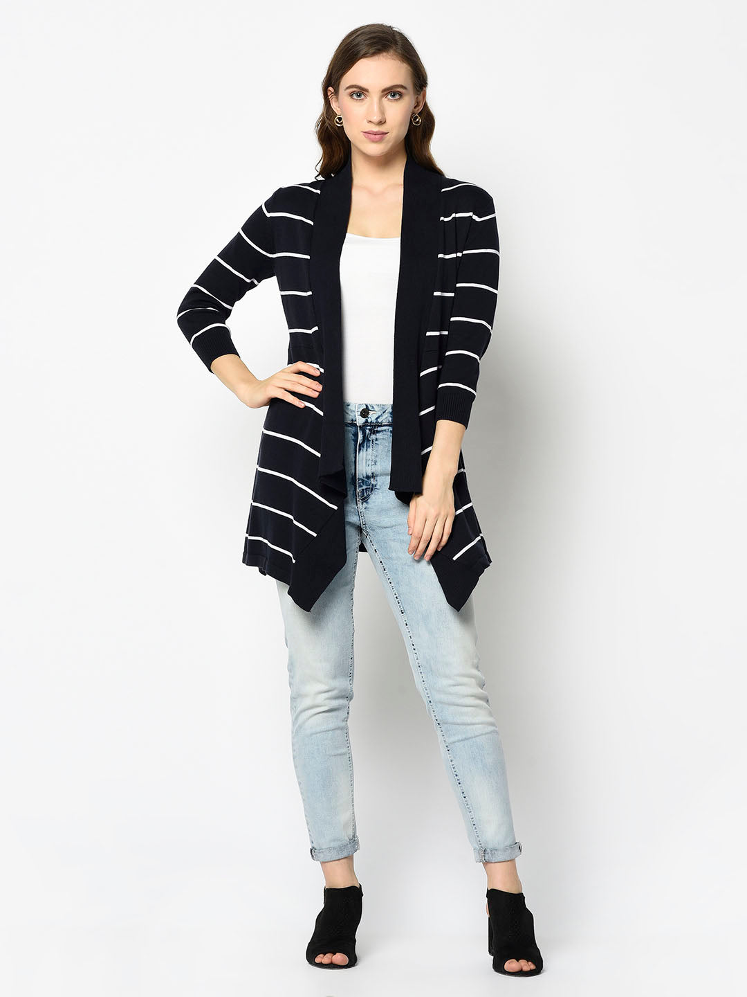Navy and White Striped Waterfall Cardigan - Avsoy