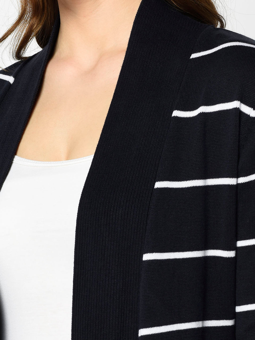 Navy and White Striped Waterfall Cardigan