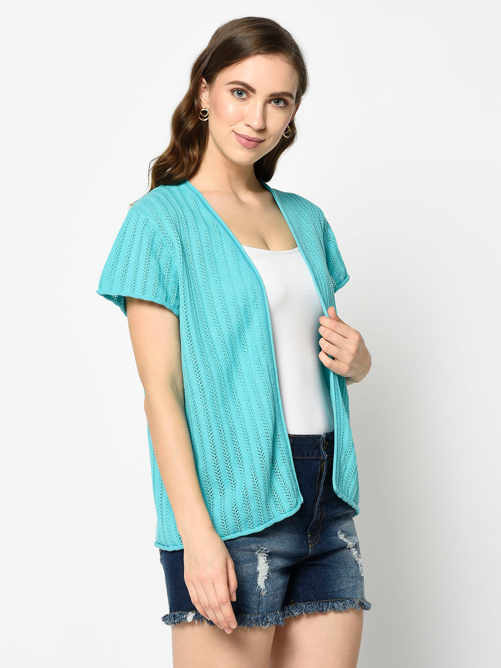 Cyan Shrug with Short Sleeves