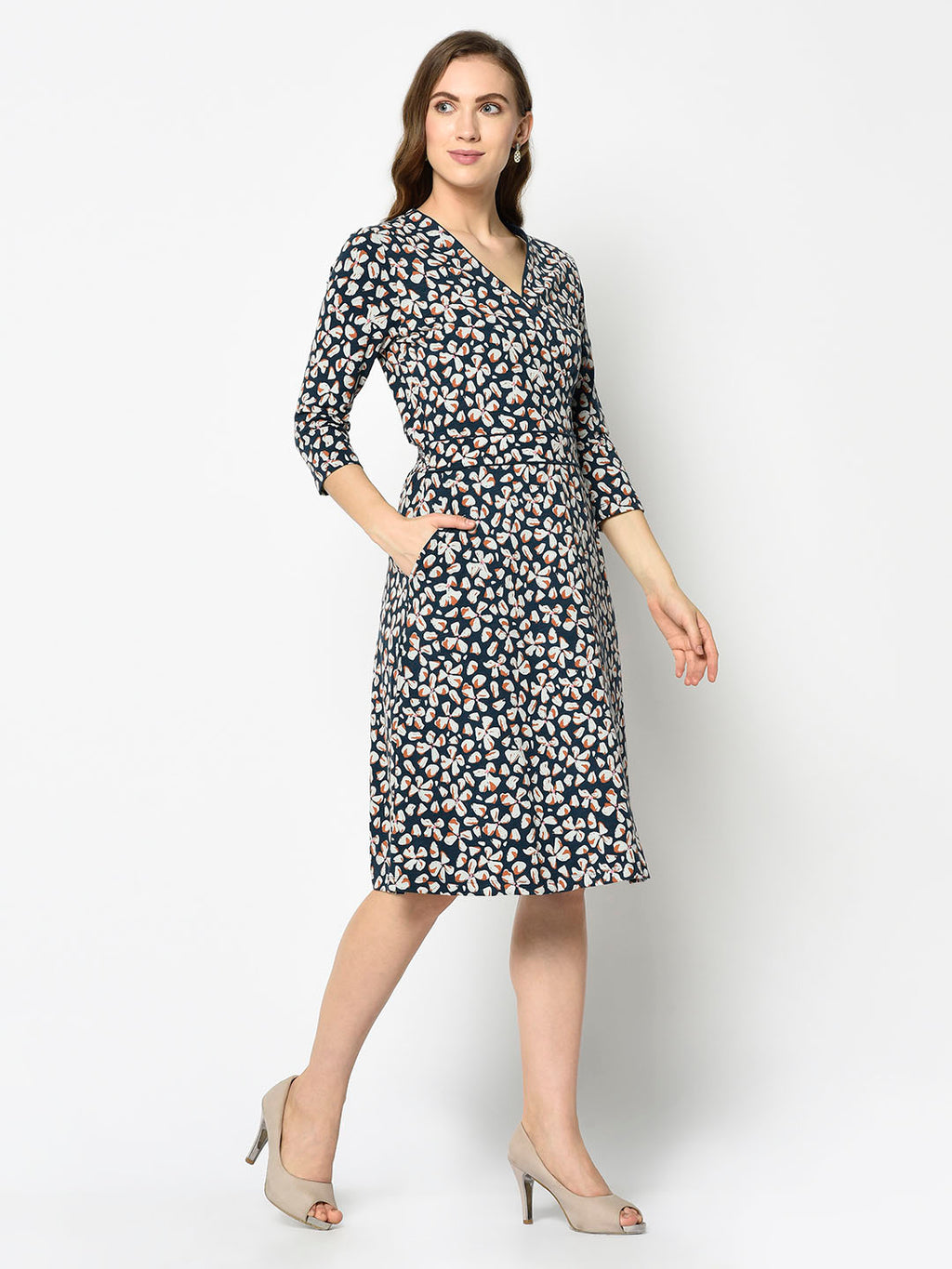 Cider Orange and Charcoal Floral A-line Dress