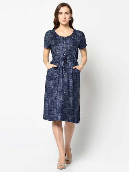 Navy Dress with Polka Dots on Silver Line Pattern