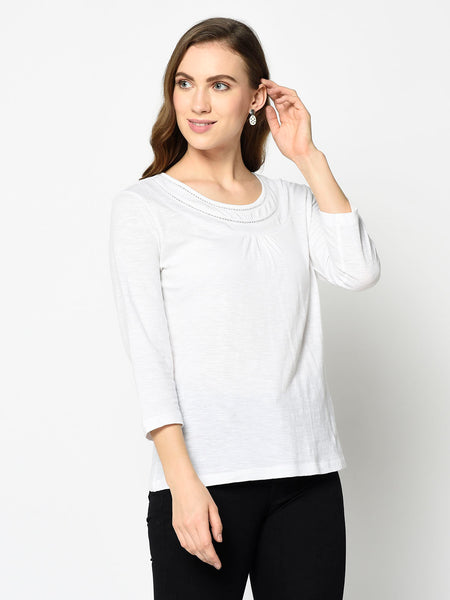 White T- Shirt with Bracelet Sleeves