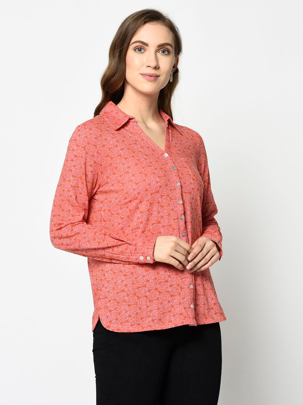 Pink Pattern Button-up Shirt