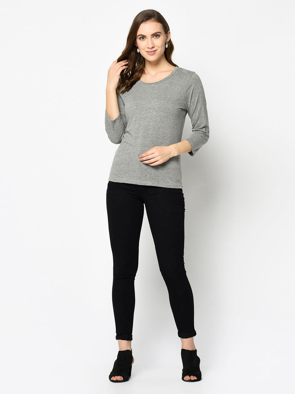 Grey Three Quarter Sleeve Top