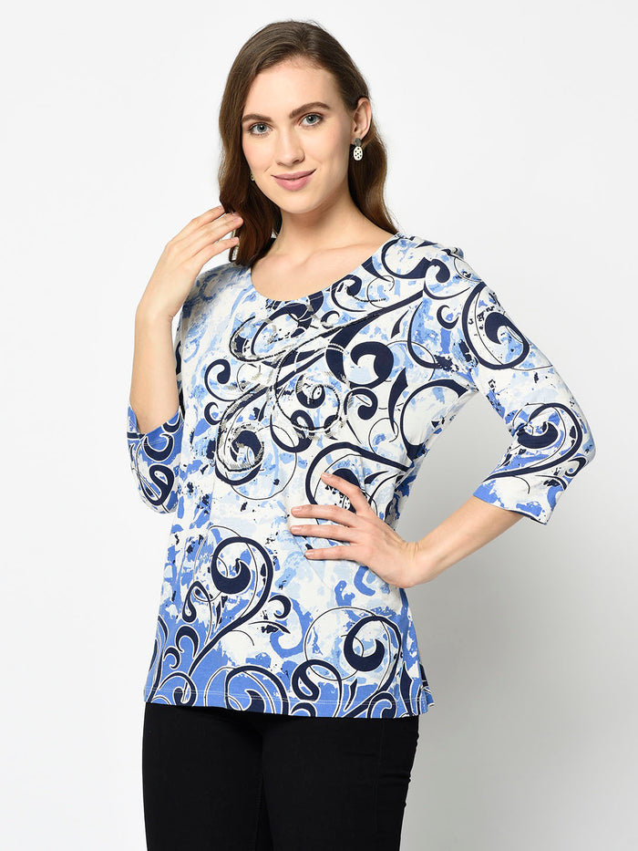 Blue Swirl Pattern Scooped Neck Top