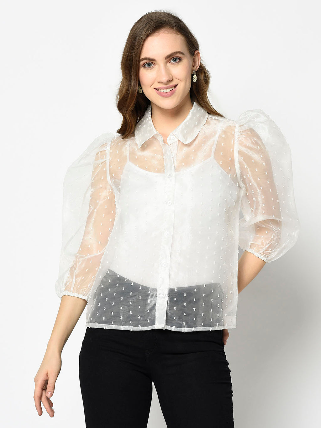 Embroidered White Sheer Top with Gigot Sleeves