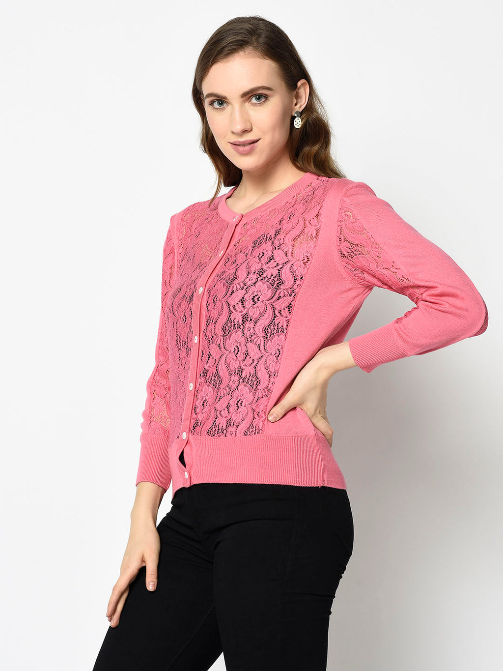 Pink Lace Cardigan - Avsoy