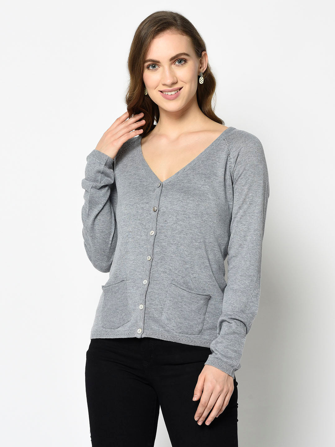 100% Linen Grey V-neck Cardigan - Avsoy