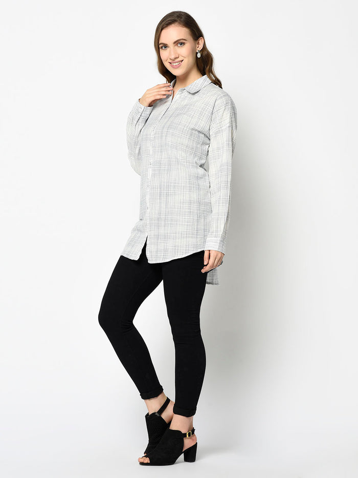 Off-white Shirt with Scruffy Checks