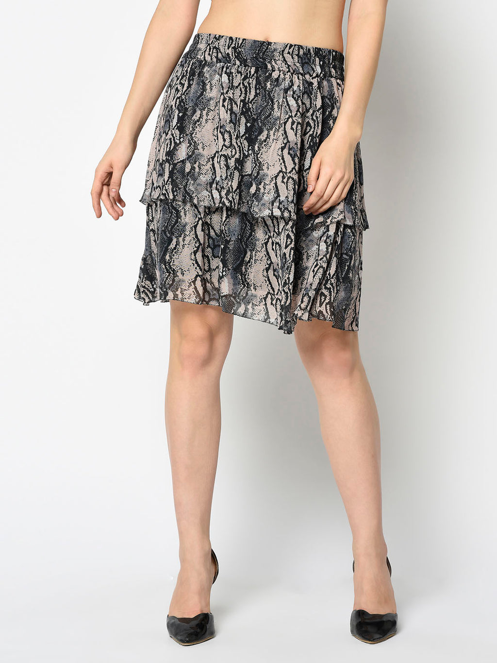 Grey Snakeskin Two Tiered Skirt