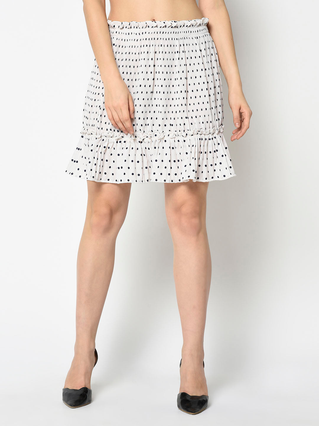 White Ruffled Polkadot Skirt