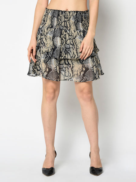 Black and Beige Snakeskin Two Tiered Skirt