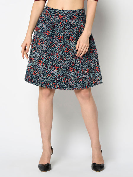 Floral Blue and Cherry A-line Skirt
