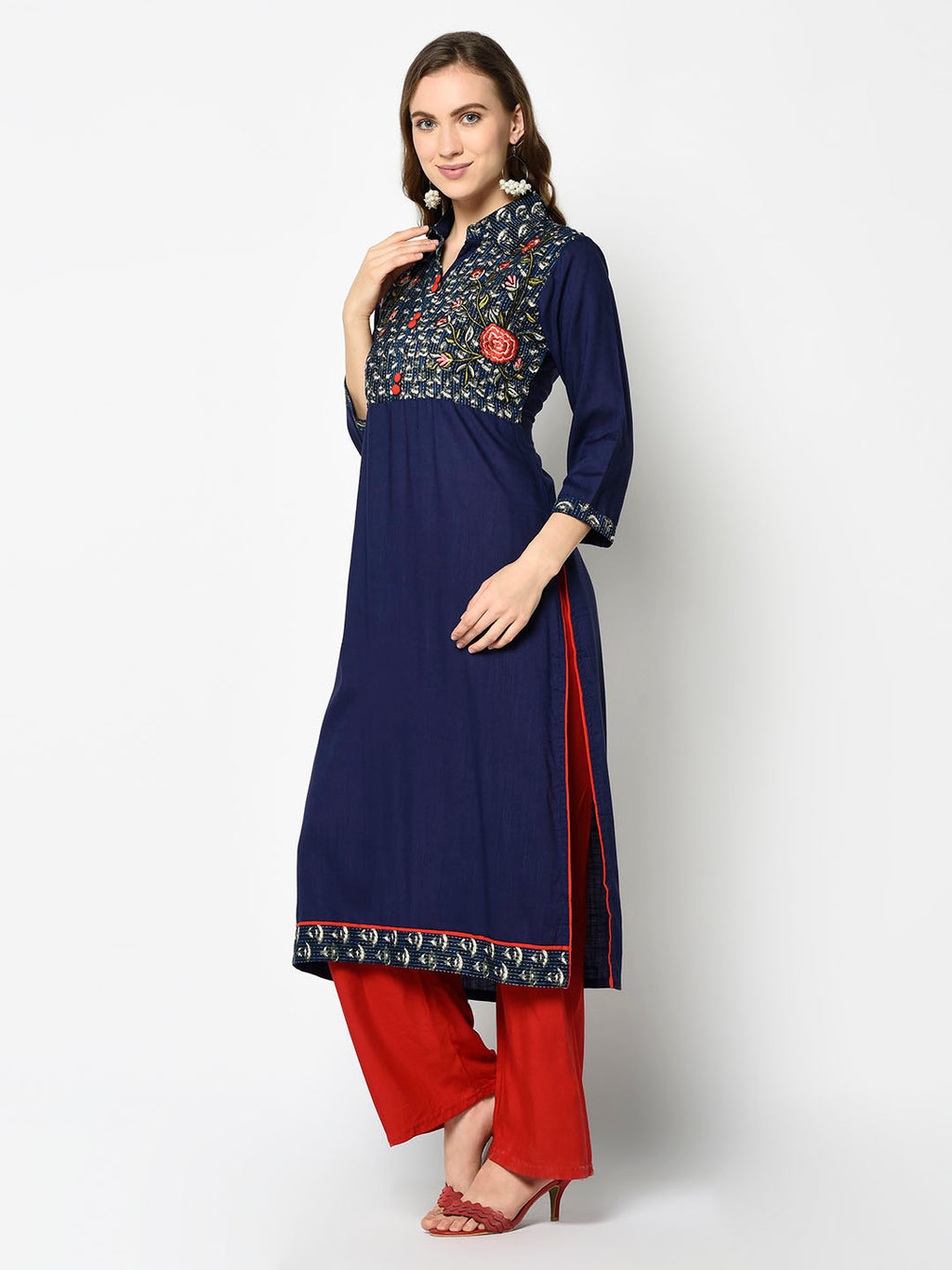 Royal Blue Collared Kurti with Floral Embroidery