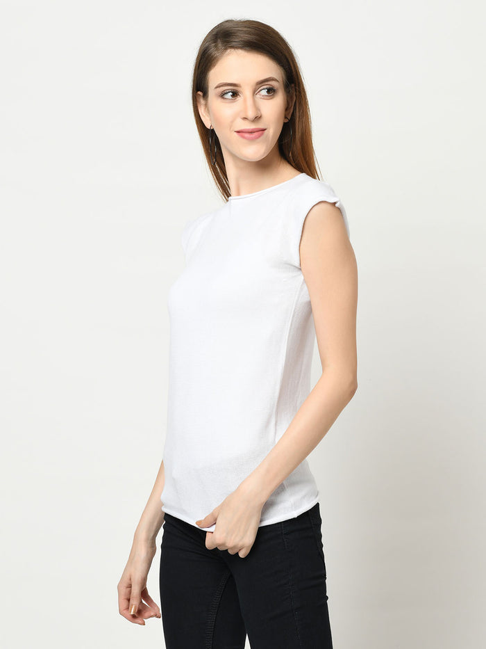 White Capped Sleeve Sweater Knit Top
