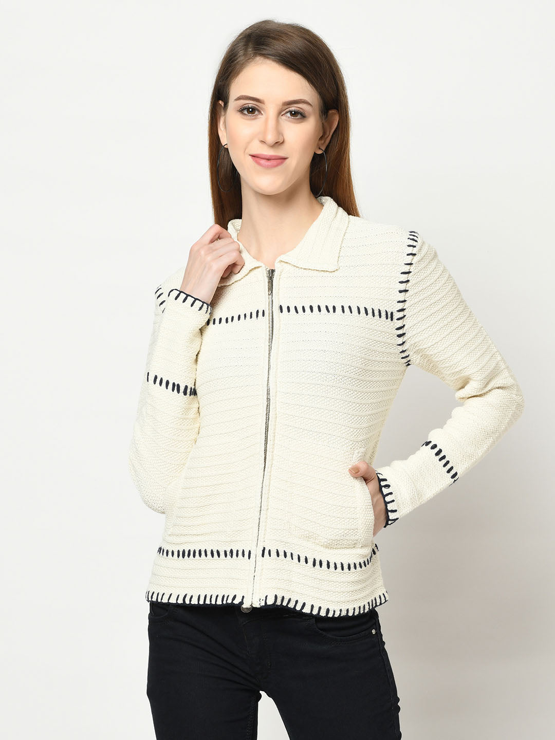 Cream Ridged Zip-Up Sweater - Avsoy