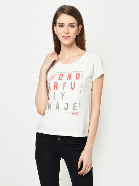 White And Coral Wonderfully Made Sequence T-Shirt