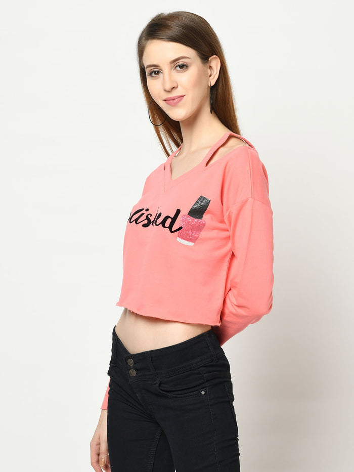 Polished Flamingo Cut-Out V-Neck - Avsoy