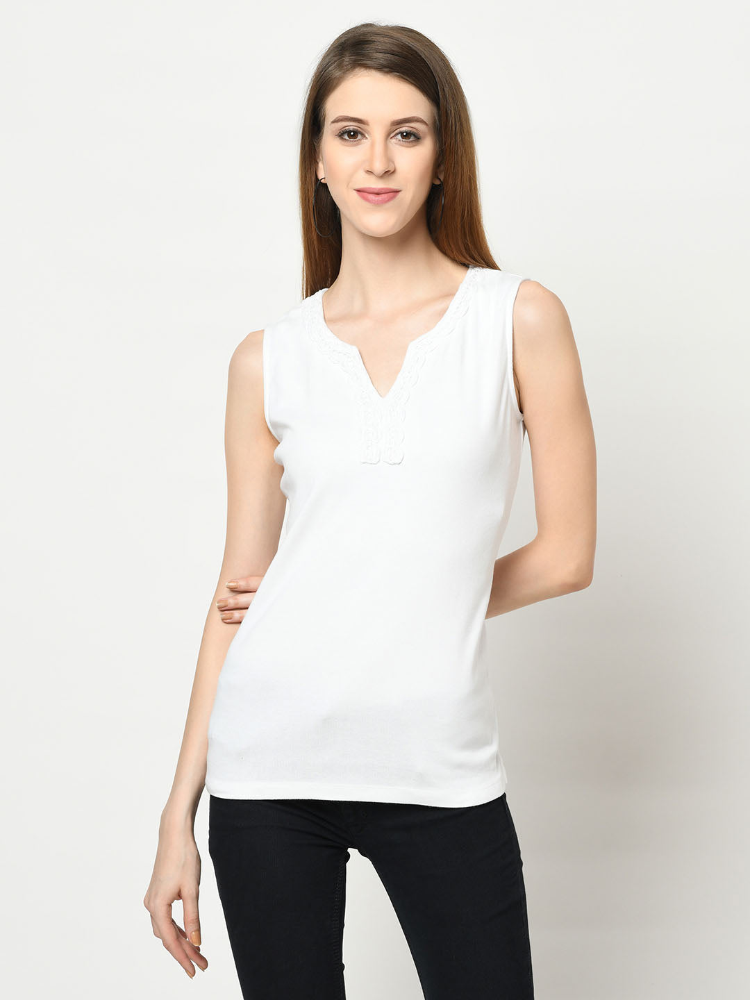 White Decolletage Neck Top