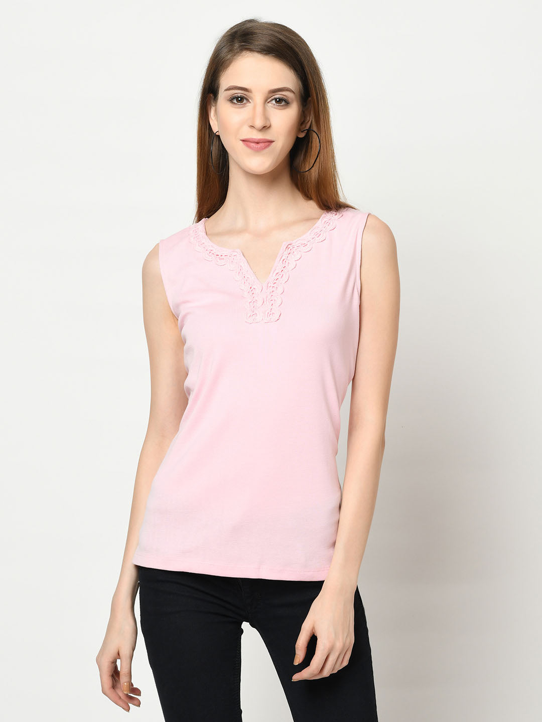 Blush Pink Decolletage Neck Top