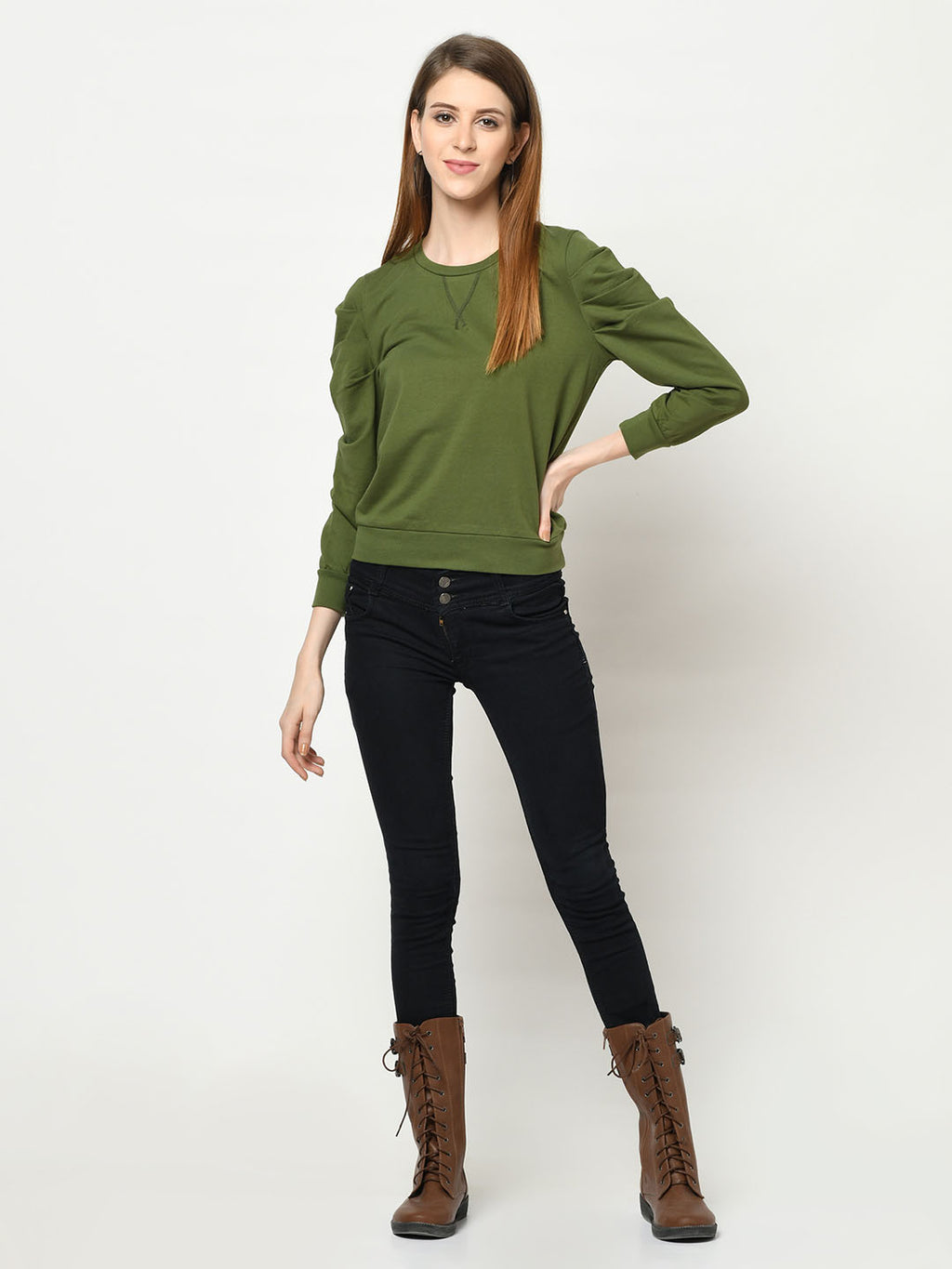 Olive Green Gigot Sleeve Top