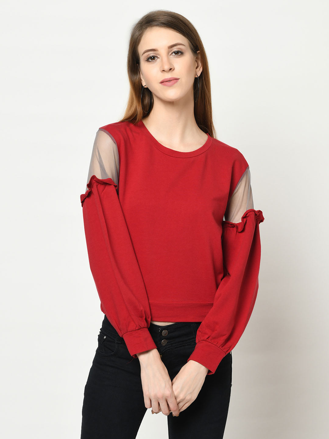 Red Sweatshirt With Black Net