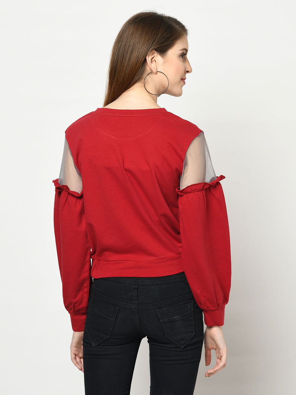 Red Sweatshirt With Black Net - Avsoy