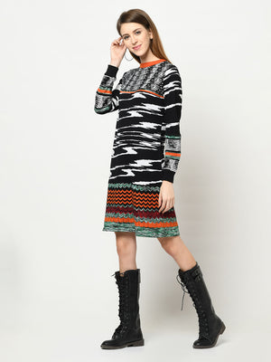 100% Cotton Tunic Multi-Pattern Black, White And Orange Dress - Avsoy