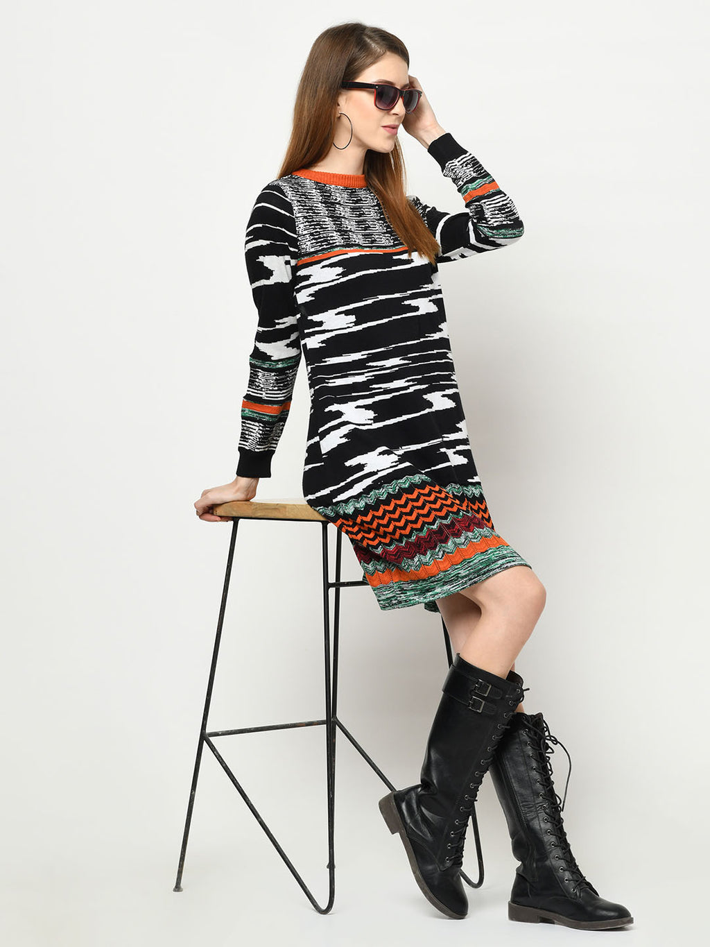 100% Cotton Tunic Multi-Pattern Black, White And Orange Dress