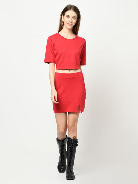 Imperial Red Top And Skirt Set