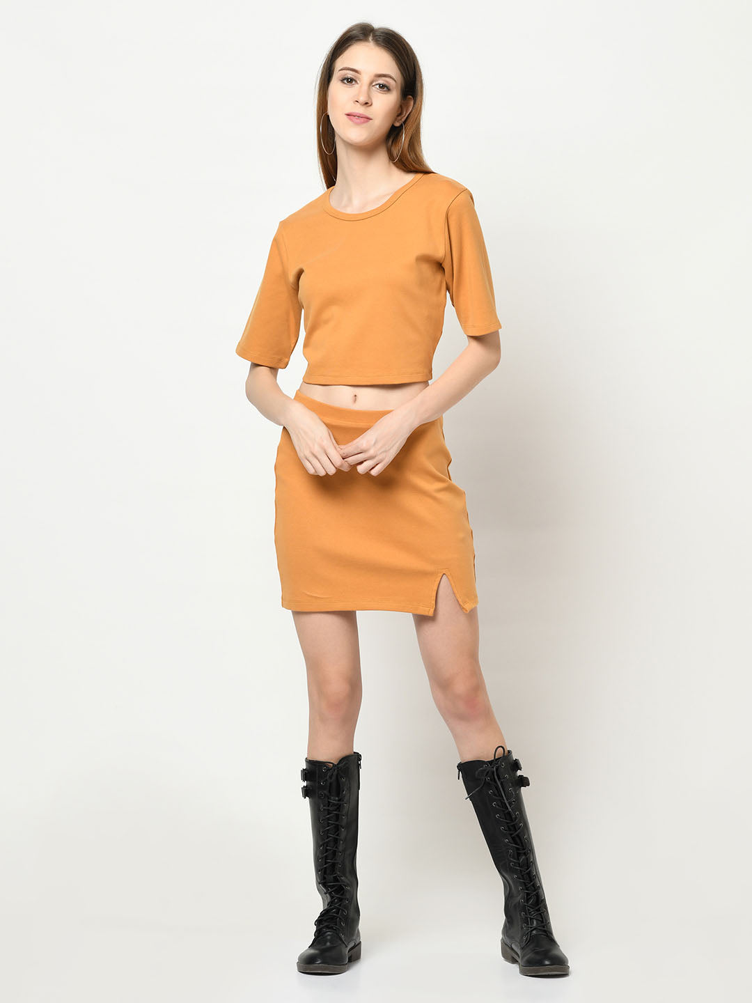 Mustard Top And Skirt Set - Avsoy