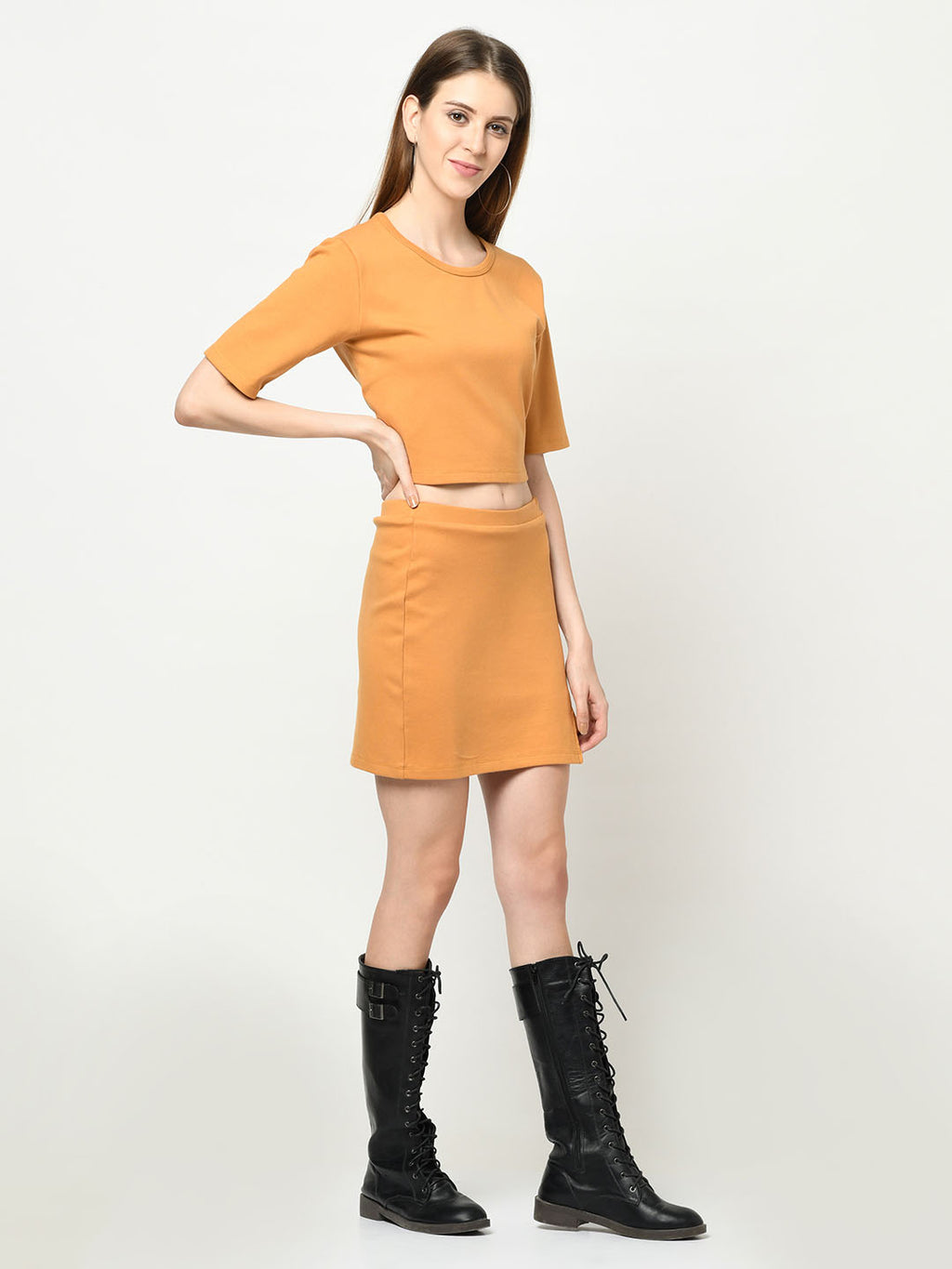 Mustard Top And Skirt Set